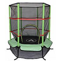Детский батут комнатный с защитной сеткой 140 см Atleto зеленый