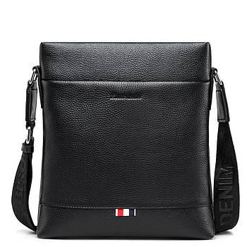 Чоловіча сумка через плече Натуральня шкіра Барсетка Чоловіча шкіряна сумка для документів планшет Чорна
