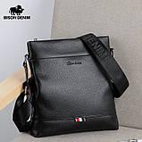 Мужская сумка через плечо Натуральня кожа Барсетка Мужская кожаная сумка для документов планшет Черная, фото 3