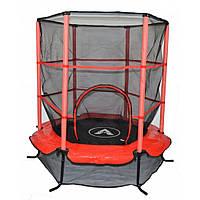 Детский батут комнатный с защитной сеткой 140 см Atleto красный