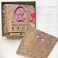 Детский деревянный набор - фотоальбом, коробка, открытка, клей-карандаш