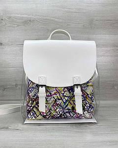Рюкзак силіконовий білий з косметичкою абстракція