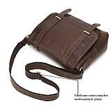 Чоловіча сумка через плече Натуральня шкіра Портфель Чоловіча шкіряна сумка для документів планшет Коричнева, фото 3