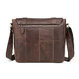 Чоловіча сумка через плече Натуральня шкіра Портфель Чоловіча шкіряна сумка для документів планшет Коричнева, фото 6