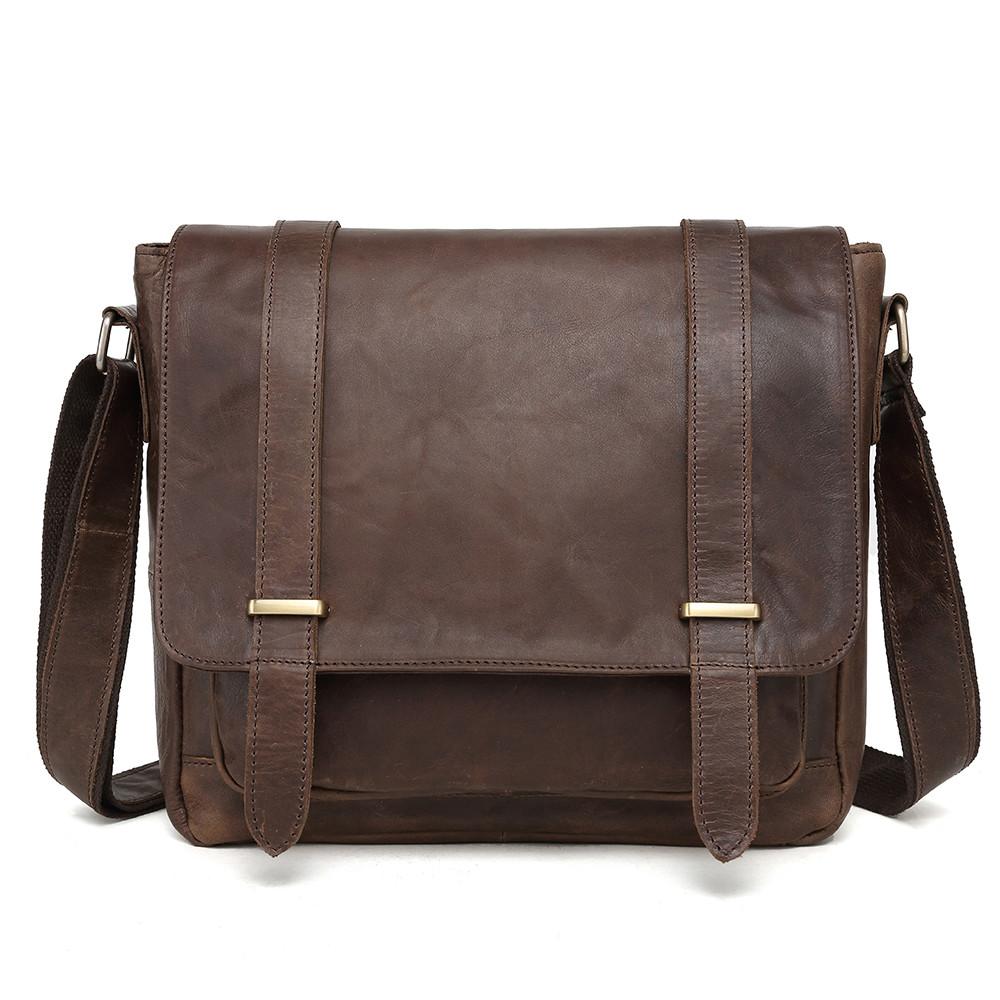 Чоловіча сумка через плече Натуральня шкіра Портфель Чоловіча шкіряна сумка для документів планшет Коричнева