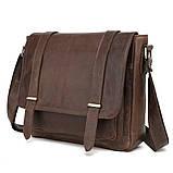 Чоловіча сумка через плече Натуральня шкіра Портфель Чоловіча шкіряна сумка для документів планшет Коричнева, фото 5