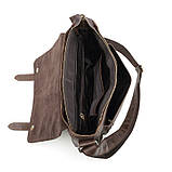 Чоловіча сумка через плече Натуральня шкіра Портфель Чоловіча шкіряна сумка для документів планшет Коричнева, фото 10