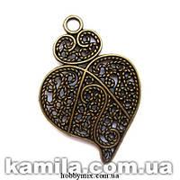 "Кулон металлический ""ажурное сердце"" бронза (3,5х5,5 см) 2 шт в уп."