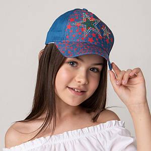 Яркая кепка для девочек на лето оптом - Звёзды светлый джинс