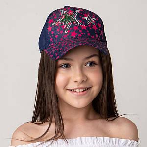 Яркая кепка для девочек на лето оптом - Звёзды тёмный джинс