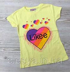 Трендовая футболка для девочек Likee Размеры 116- 164 Турция