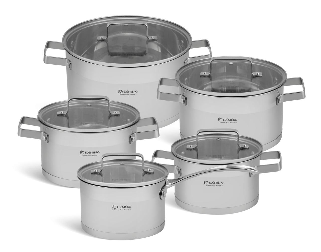 """Набор посуды из нержавеющей стали TM """"Edenberg"""" 10 предметов индукционное дно"""