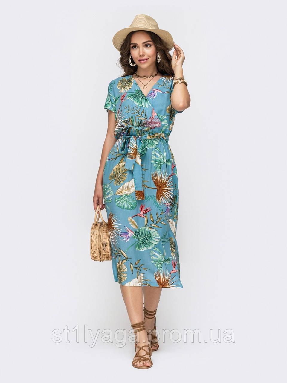 Голубое платье миди из штапеля  с  принтом  ЛЕТО