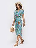 Голубое платье миди из штапеля  с  принтом  ЛЕТО, фото 2