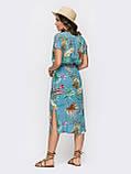 Голубое платье миди из штапеля  с  принтом  ЛЕТО, фото 3