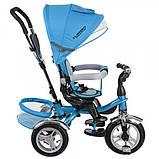 Детский трехколесный велосипед с ручкой и  поворотным сиденьем на надувных колесах,TURBOTRIKE голубой, фото 3