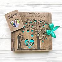 Свадебный фотоальбом из дерева Деревянная открытка с фото