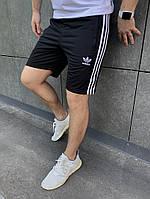 Мужские модные шорты из лакосты чёрные с вышитой эмблемкой АДИДАС S M L XL