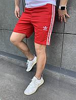 Красные мужские шорты из лакосты с вышитой эмблемкой АДИДАС S M L XL