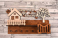 Ключница настенная в прихожую из дерева (фанера) для ключей - «Дом там, где мы вместе»