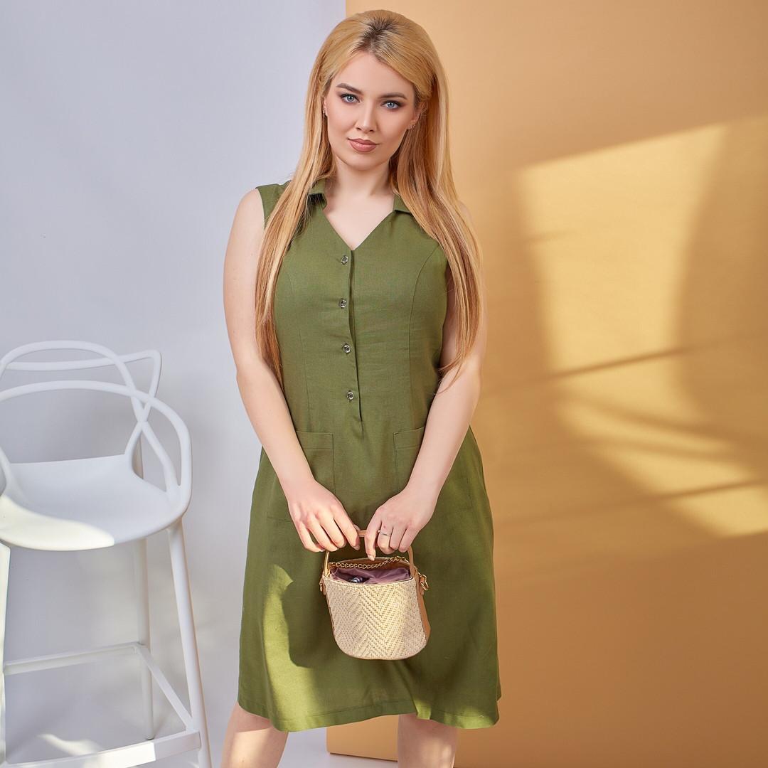 Стильное женское льняное платье-сарафан на пуговицах с двумя накладными карманами(48-58)