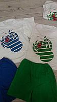 Літні костюми для хлопчиків футболка шорти Восьминіг зелені сині 80-96,92-98,104-110,116-122