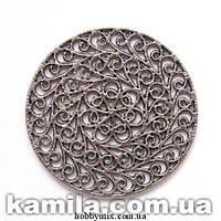 """Декоративный элемент """"круглый ажур"""" серебро (диам. 5,2 см) 1 шт в уп."""