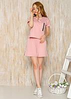 Модный летний женский костюм для спорта и отдыха свободные шорты с лампасами и футболка с карманом пудра