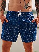 Мужские шорты пляжные для плавания с якорями синие