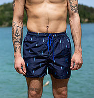 Чоловічі пляжні шорти М L XL XXL XXXL сині принт   мужские пляжные шорты плавки темно-синие 48 50 52 54 56