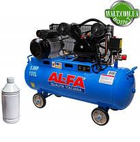 Компрессор AL-FA ALC100-2 двухцилиндровый двигатель с ременным приводом, фото 3