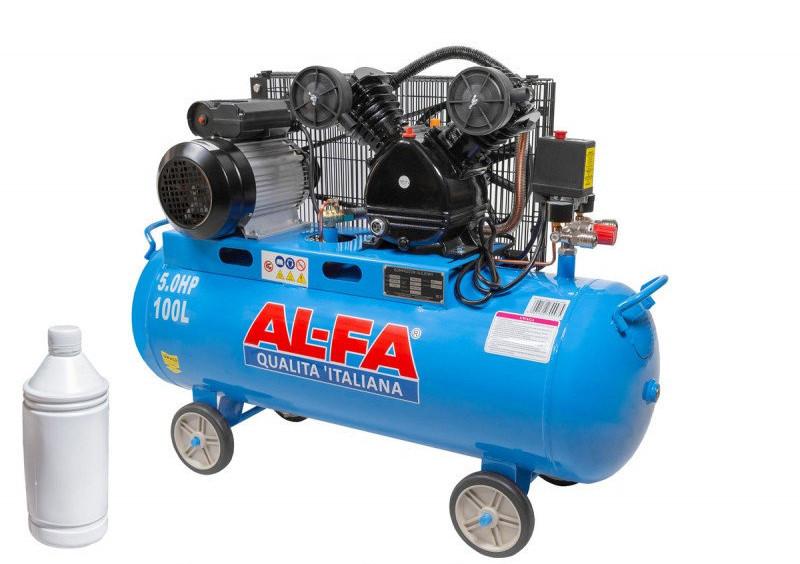 Компрессор AL-FA ALC100-2 двухцилиндровый двигатель с ременным приводом