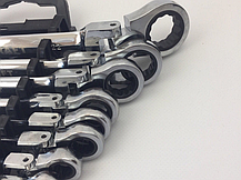 Ключі рожково-накидні EURO CRAFT з трещеткой 8 шт Хромванадієва сталь, фото 2
