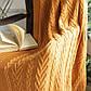 Плед вязаный 130х170 BETIRES Bloom Mustard горчичный, фото 2