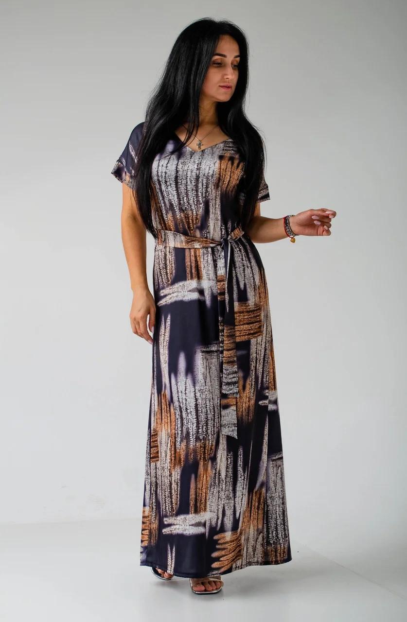 Шелковое платье с поясом темно-синее