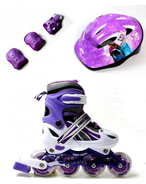 Комплект детские ролики р.29-33 для девочек Замороженное Сердце с защитой фиолетовые