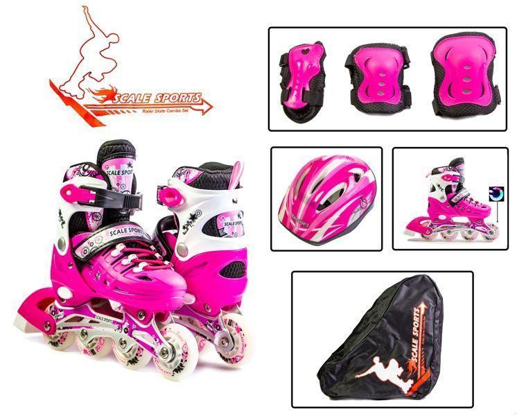 Детские ролики комплект р.29-33 с защитой и сумкой, розовые