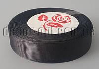 Лента репсовая черная 2,0 см 25 ярд арт.39