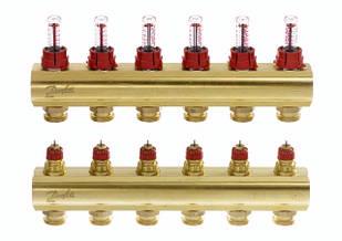 Коллектор для теплого пола FHF 6+6 c ратометрами Danfoss