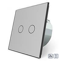 Сенсорный радиоуправляемый выключатель Livolo для ролет электрокарнизов ворот серый стекло (VL-C702WR-15)