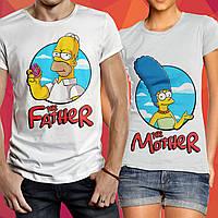 Семейные парные футболки для стильной пары для мамы и папы с надписью - Father, Mother Симсоны
