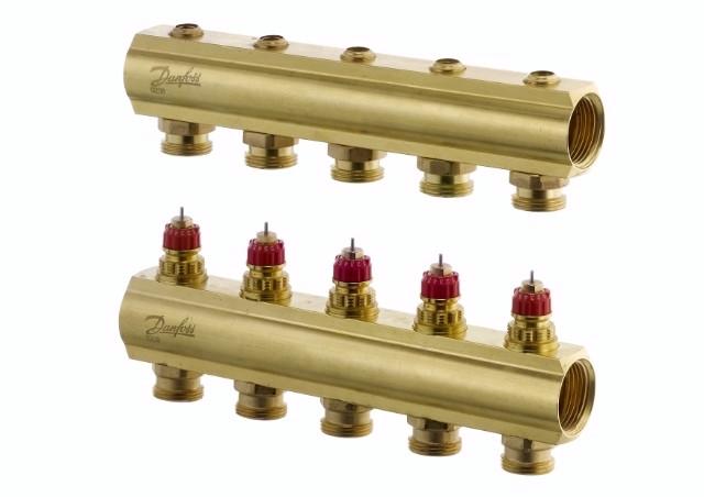 Коллектор для теплого пола FHF 5+5 без ратометров Danfoss
