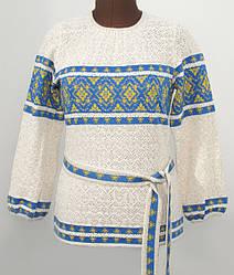 Женская блузка на льне с пояском