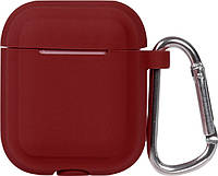 Кейс TOTO Plain Cover With Stripe Style Case AirPods Wine Red, фото 1