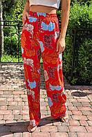 Летние брюки женские палаццо  Crep - коралловый цвет, S (есть размеры), фото 1