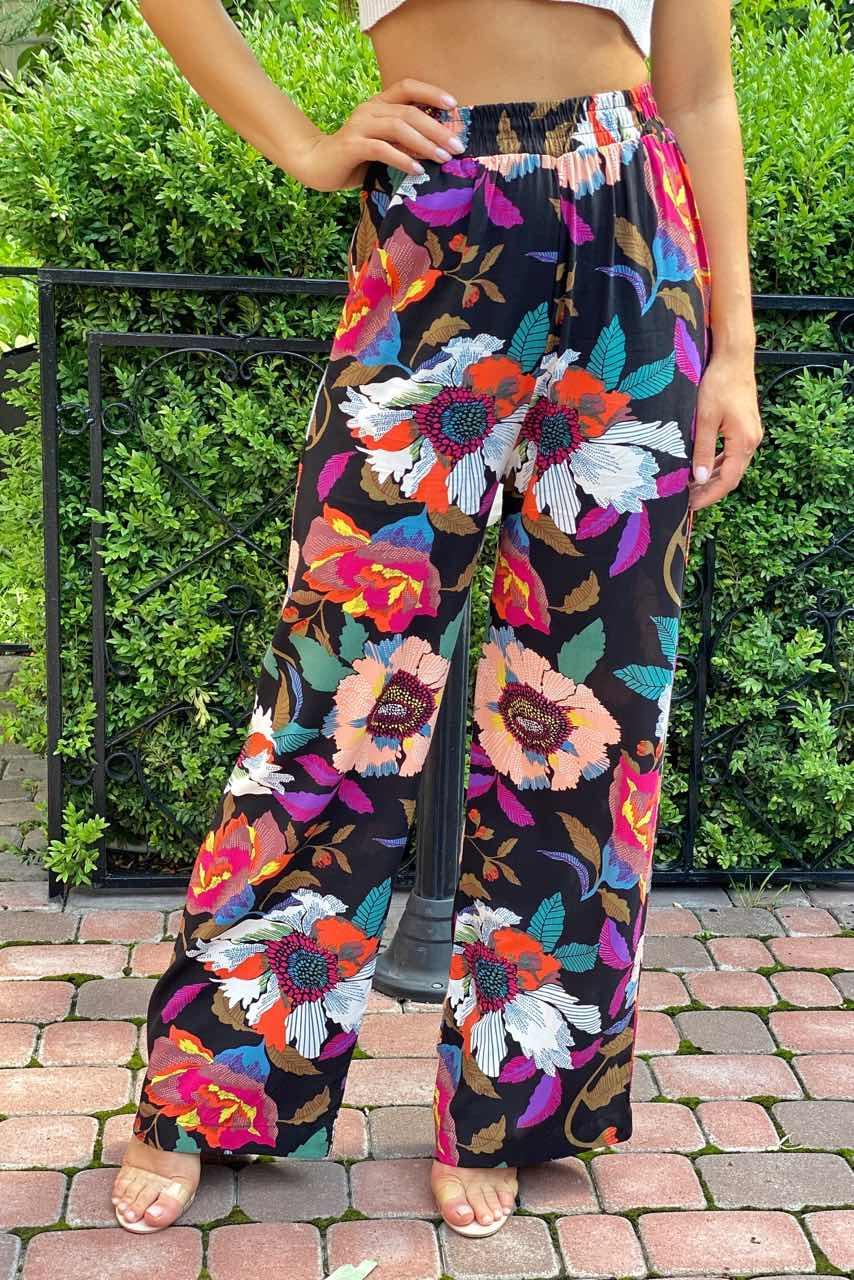 Летние брюки женские палаццо  Crep - черный цвет, S (есть размеры)