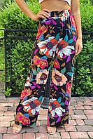 Летние брюки женские палаццо  Crep - черный цвет, S (есть размеры), фото 1