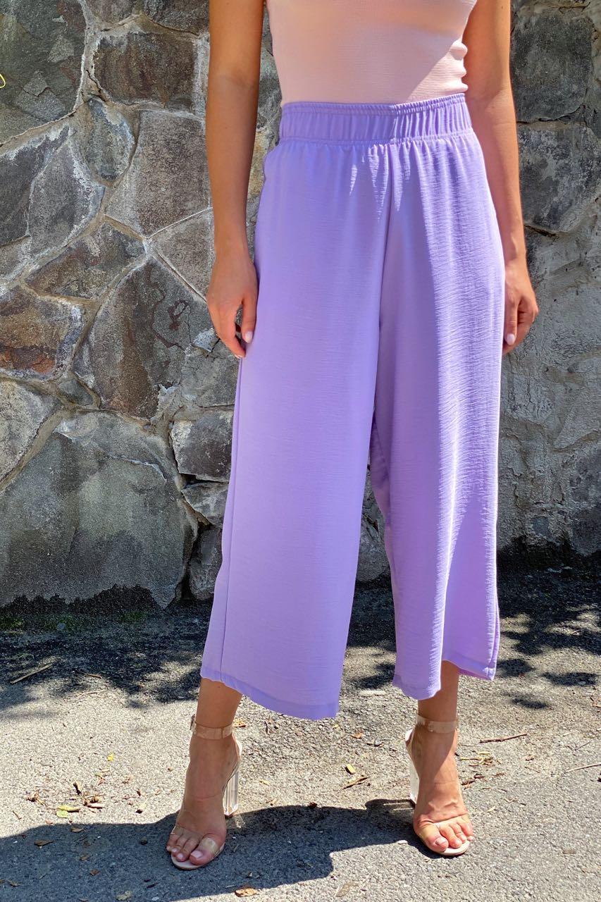 Штаны кюлоты с высокой талией  Clew - лавандовый цвет, S (есть размеры)