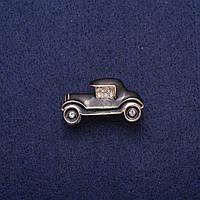 Брошь Автомобиль черная эмаль со стразами, золотистый металл 17х29мм