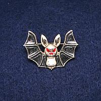 Брошь Летучая Мышь черная эмаль золотистый металл 28х40мм